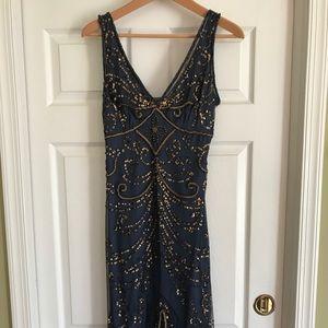 Vintage Midnight Blue Beaded Dress